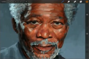 Morgan Freeman per Finger auf dem iPad malen
