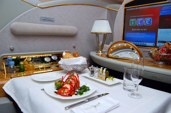 Emirates Airlines First Class Suite Airbus A380 Dubai route - New York.jpg